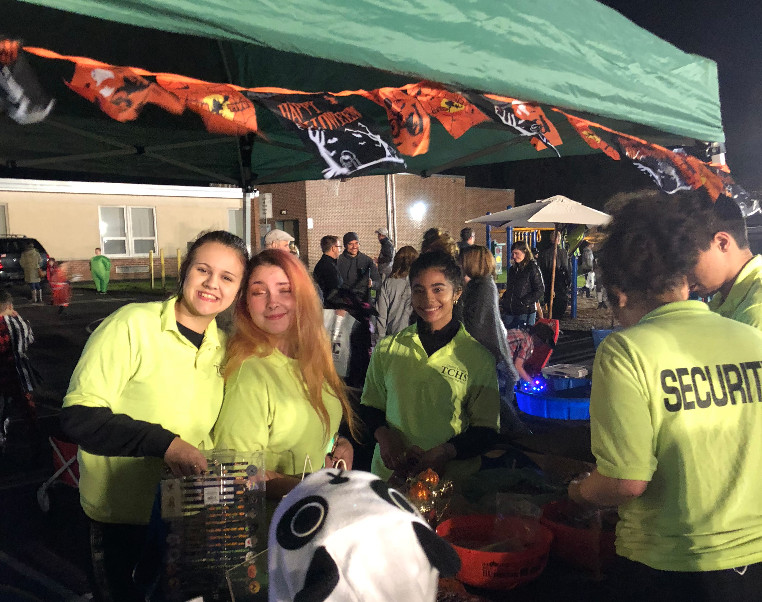 TCHS students pose for camera at Beaver Creek's Trunk or Treat event.