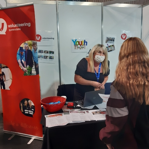 Volunteering Queensland staff at the Logan Ignite Youth Careers Expo with students