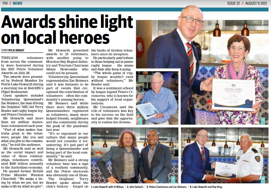 Awards shine light on local heroes newspaper excerpt written by Moreton Daily